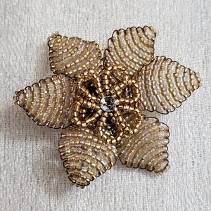 LOFT Taupe Seed Bead Floral Hair Pin/Brooch #446